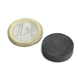FE-S-20-05 Disco magnetico Ø 20 mm, altezza 5 mm, tiene ca. 700 g, ferrite, Y35, senza rivestimento