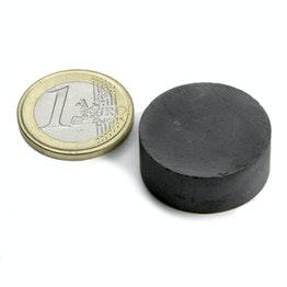 FE-S-25-10 Disc magnet Ø 25 mm, height 10 mm, ferrite, Y35, no coating