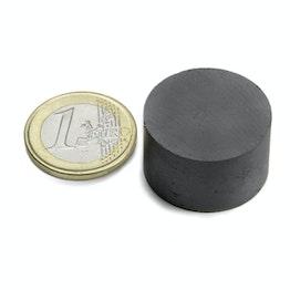 FE-S-25-15 Disco magnético Ø 25 mm, alto 15 mm, sujeta aprox. 2,3 kg, ferrita, Y35, sin revestimiento