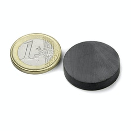 FE-S-25-05 Disco magnetico Ø 25 mm, altezza 5 mm, ferrite, Y35, senza rivestimento