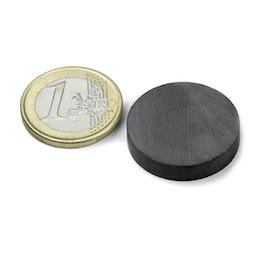FE-S-25-05 Disque magnétique Ø 25 mm, hauteur 5 mm, tient env. 800 g, ferrite, Y35, sans placage
