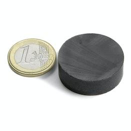 FE-S-30-10 Disco magnetico Ø 30 mm, altezza 10 mm, tiene ca. 2,3 kg, ferrite, Y35, senza rivestimento