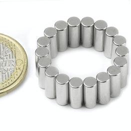 S-04-10-DN Cilindro magnetico Ø 4 mm, altezza 10 mm, neodimio, N45, nichelato, magnetizzato diametralmente
