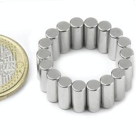 S-04-10-DN Cilindro magnético Ø 4 mm, alto 10 mm, neodimio, N45, niquelado, magnetización diametral