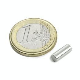 S-04-10-AN Cilindro magnetico Ø 4 mm, altezza 10 mm, tiene ca. 700 g, neodimio, N45, nichelato