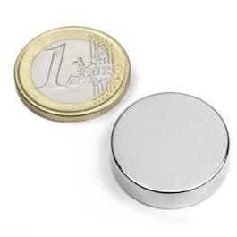 S-25-07-N Disco magnetico Ø 25 mm, altezza 7 mm, neodimio, N42, nichelato