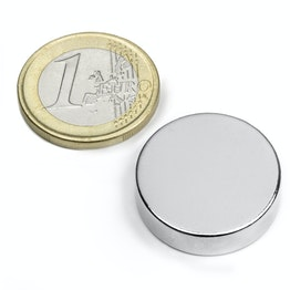 S-25-07-N Disc magnet Ø 25 mm, height 7 mm, holds approx. 11 kg, neodymium, N42, nickel-plated