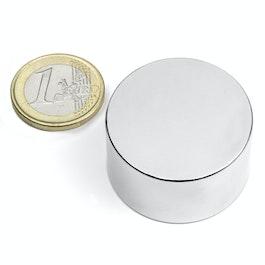 S-35-20-N Disque magnétique Ø 35 mm, hauteur 20 mm, néodyme, N45, nickelé