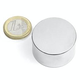 S-35-20-N Disco magnético Ø 35 mm, alto 20 mm, sujeta aprox. 38 kg, neodimio, N45, niquelado