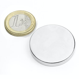 S-35-05-N Disc magnet Ø 35 mm, height 5 mm, neodymium, N42, nickel-plated