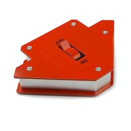 Aimant de soudeur petit équerre pour soudage magnétique, avec interrupteur marche/arrêt, longueur des côtés env. 9,5 cm