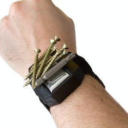 Wristband with magnet for nails, screws, bits, etc.