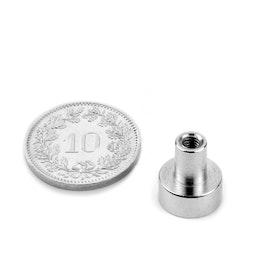 TCN-10 Aimant en pot avec manchon taraudé Ø 10 mm, tient env. 3 kg, pas de vis M3