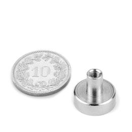 TCN-13 Magnete con base in acciaio con boccola filettata Ø 13 mm, filettatura M3