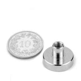 TCN-16 Magnete con base in acciaio con boccola filettata Ø 16 mm, filettatura M4