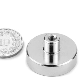 TCN-25 Pot magnet with screw socket Ø 25 mm, holds approx. 18 kg, thread M4