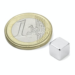 W-07-N Cube magnet 7 mm, neodymium, N42, nickel-plated