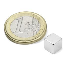 W-07-N Würfelmagnet 7 mm, Neodym, N42, vernickelt