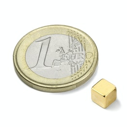 W-05-G Cube magnet 5 mm, holds approx. 1,1 kg, neodymium, N42, gold-plated