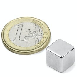W-10-N Cube magnet 10 mm, neodymium, N42, nickel-plated
