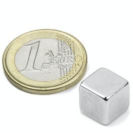 W-10-N Kubusmagneet 10 mm, neodymium, N42, vernikkeld