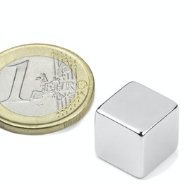 W-12-N Cube magnétique 12 mm, tient env. 6,3 kg, néodyme, N48, nickelé