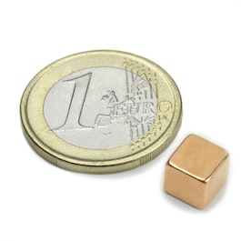 W-07-K Cube magnet 7 mm, neodymium, N42, copper-plated
