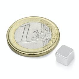 W-06-N Cube magnétique 6 mm, néodyme, N42, nickelé