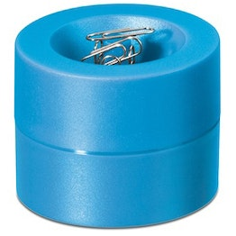 Paper clip dispenser magnetic with strong magnet in the centre, plastic, light blue