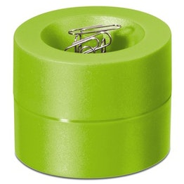 Papercliphouder magnetisch met sterke kernmagneet, van kunststof, gifgroen