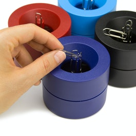Paper clip dispenser magnetic with strong magnet in the centre, plastic, in different colours