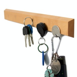Key rack magnetic 32 cm magnetic strip, made of pear wood, for 6 keys