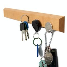 Porte-clés magnétique 32 cm barre magnétique, en bois de poirier, pour 6 clés