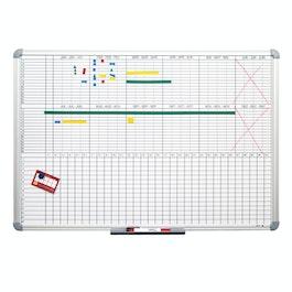 Planbord 90 x 60 cm magnetisch, om met bordmarkers te beschrijven, in verschillende indelingen