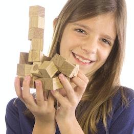 Houten magneten set 27 magnetische houten kubusjes, uit geolied eikenhout