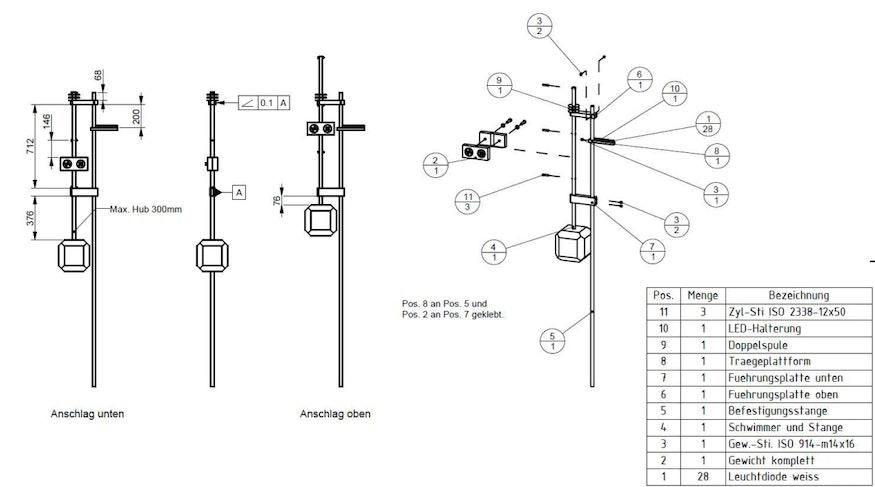 Baugruppenzeichnung des induktiven Wellenkraftwerkes