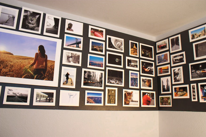 Photo wall with homemade magnetic paint