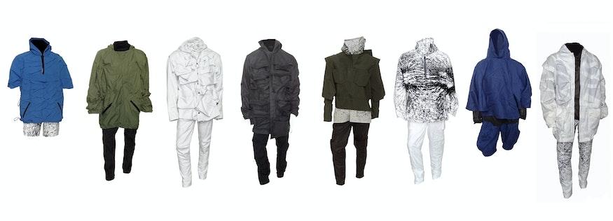 De gehele collectie (8 outfits) op een rij