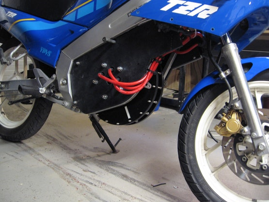 The Yamaha after the modification with a functional electric motor!