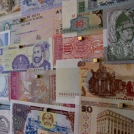 Wall of banknotes