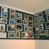 Photo wall with magnetic paint