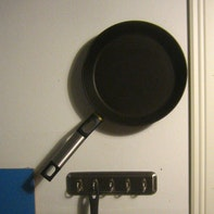 Frying pan on the wall