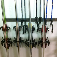 Ski and ski pole rack