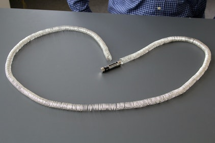 The simplest railway in the world, consisting of copper wire, batteries and magnets.