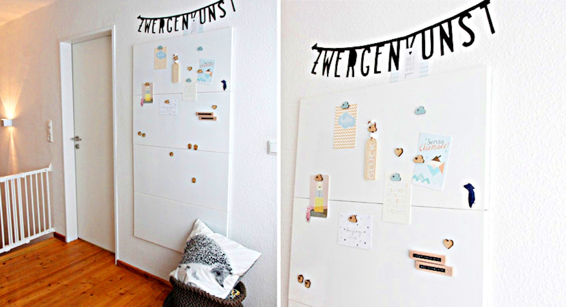 White magnetic wall for children's drawings