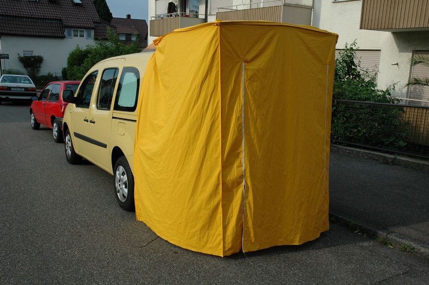 Rear view of the car tent