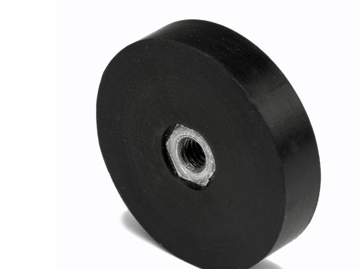 Pot magnets with internal thread, rubberised