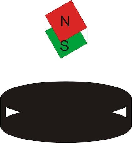 Die Abbildung zeigt schematisch ein in der Presse oft gezeigtes Bild: Ein kleiner Magnet schwebt über einem supraleitenden Plättchen (schwarz).